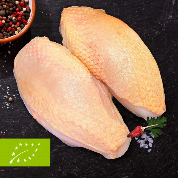 Bio Hähnchen-Brustfilets mit Haut, 2 Stück