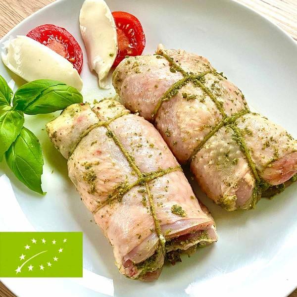 Bio Hähnchen Oberkeulen Rollbraten mit Pesto, Tomaten und Mozzarella